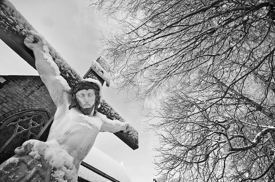 Crucifix in churchyard of Bishop Eton Churchyard, Childwall, Black and White Image