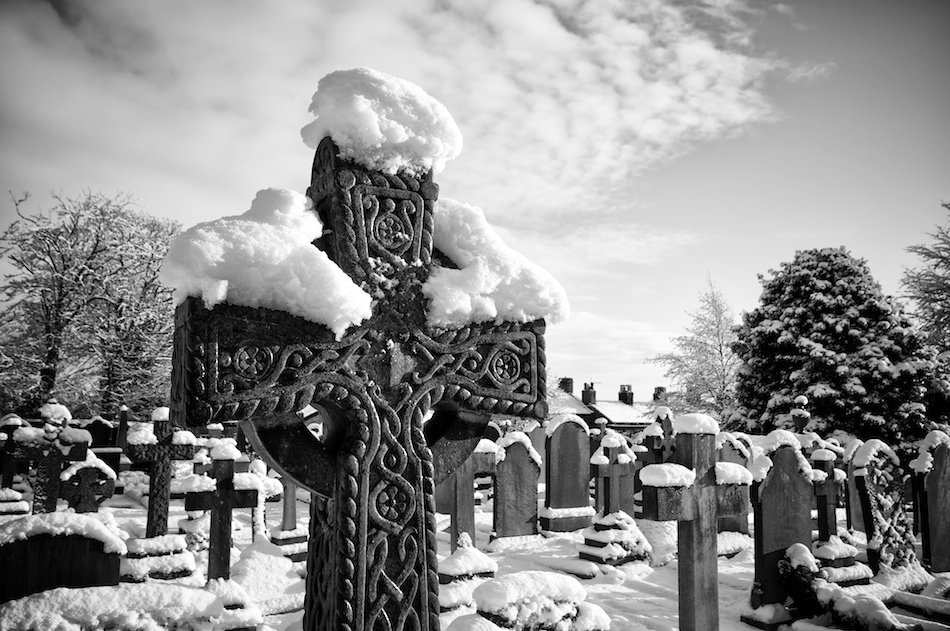 Cross, St Peters Church, Woolton, Liverpool, Black and White image