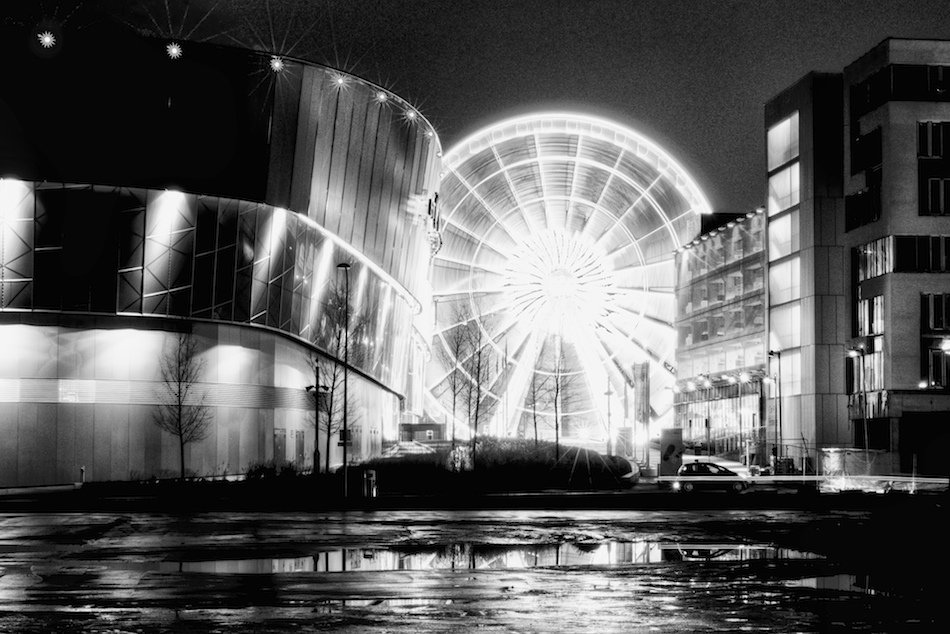 The echo wheel of liverpool viewed from the other side of the liverpool echo arena
