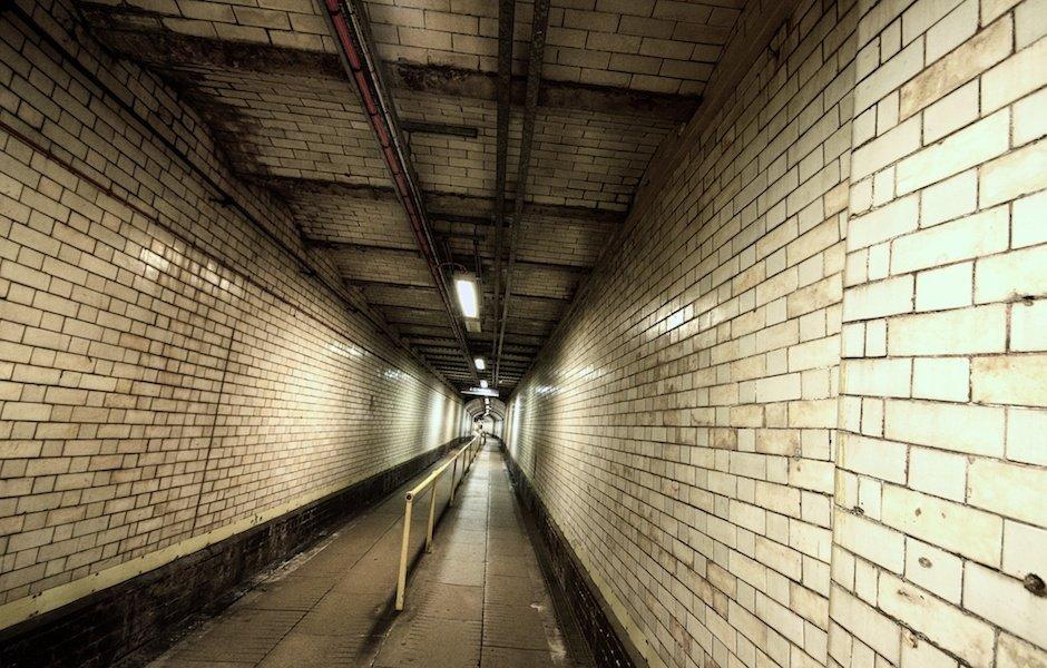 Tunnel down to platforms, James Street underground station, Liverpool