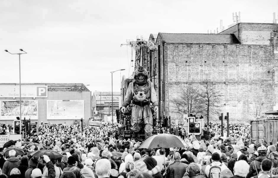 Sea Odyssey - Giant Uncle walking towards Albert Dock