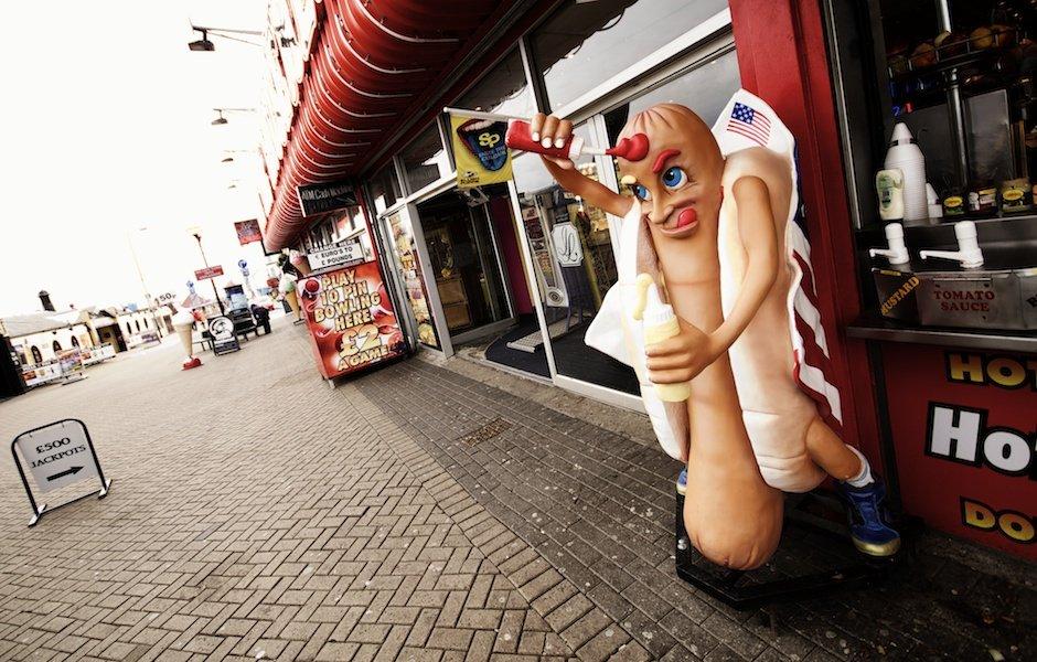 Bridlington - British seaside town shoot, giant hot dog