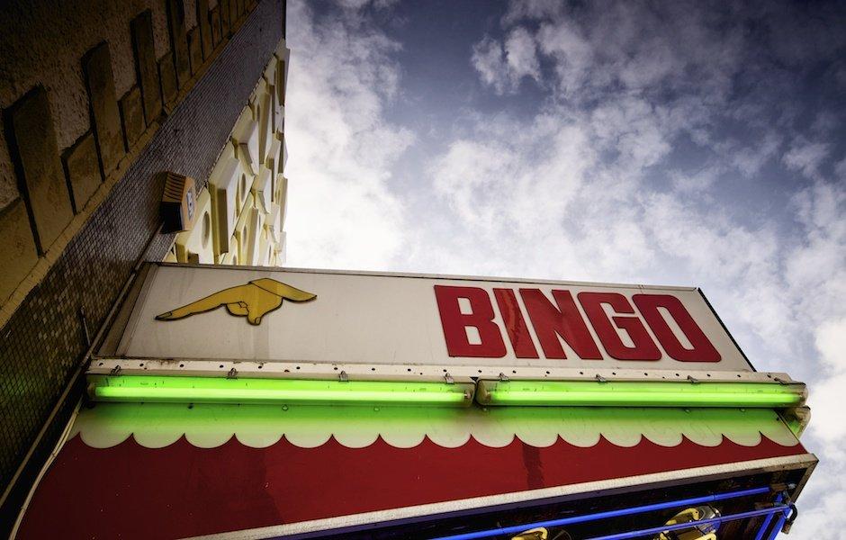 Bridlington - British seaside town shoot, bingo hall with blue sky