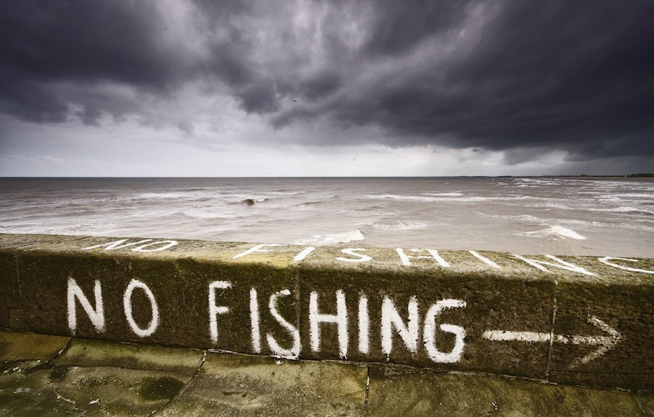 No fishing painted on pier, Bridlington