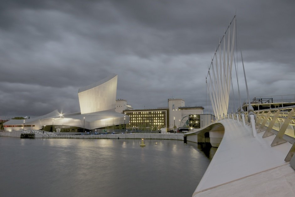 Imperial War Museum North and MediaCityUK footbridge, Salford Quays, Manchester