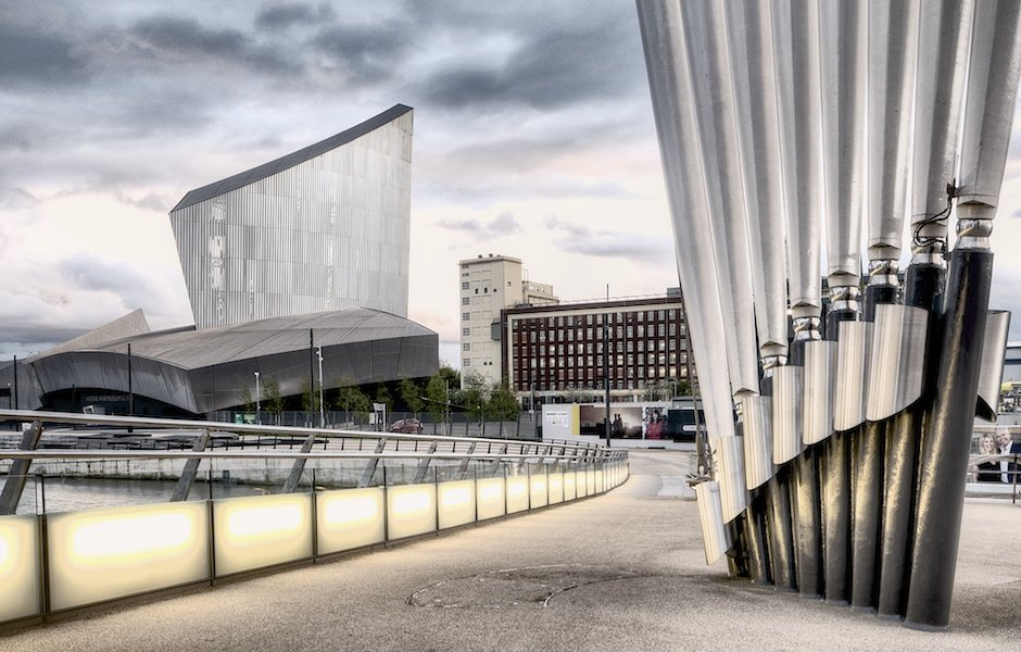 Imperial War Museum North and detail of MediaCityUK footbridge, Salford Quays, Manchester