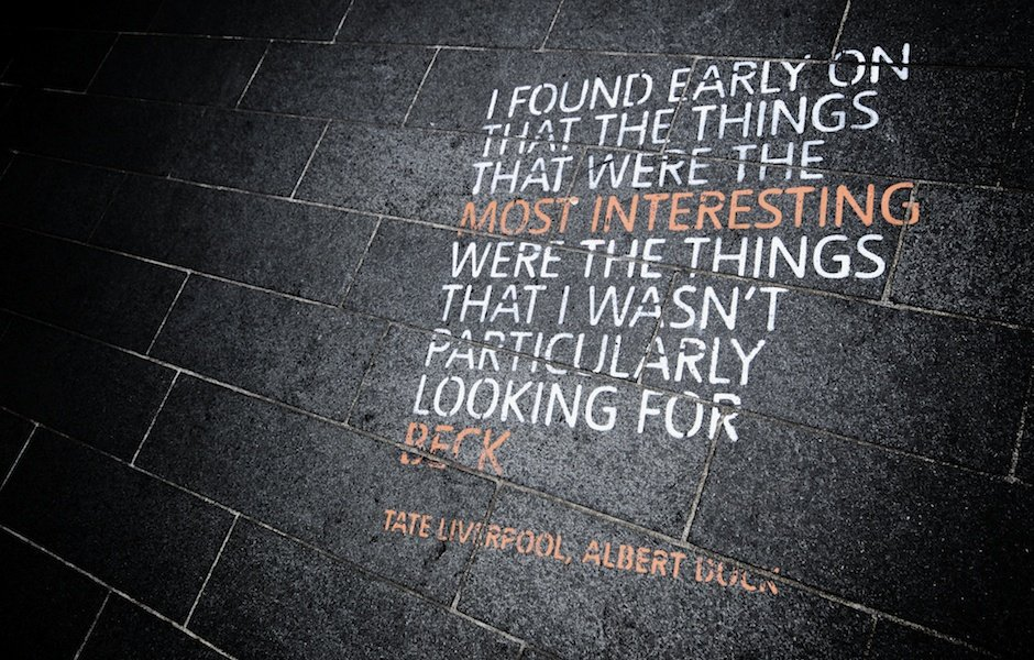 """""""I found early on that the things that were the most interesting were the things I wasn't particularly looking for"""" - Quote from Beck for Doug Doug Aitken's Biennial piece The Source"""