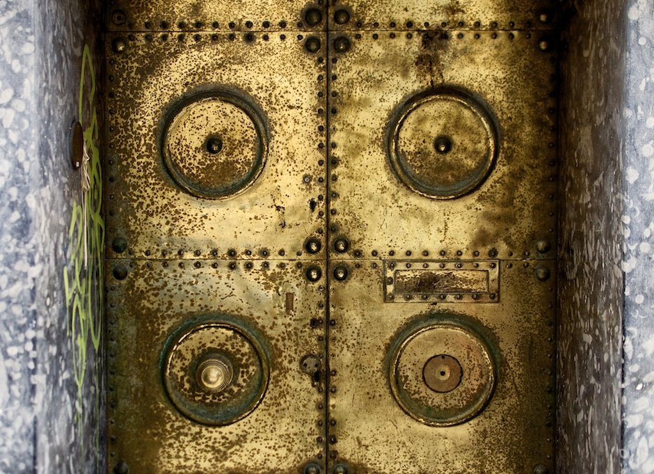 Wide shot of textured metal door - Jewellery Quarter, Birmingham