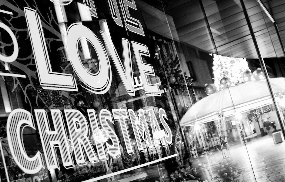 Black And White Image Of Love Christmas Sign With Tree In Background Liverpool One
