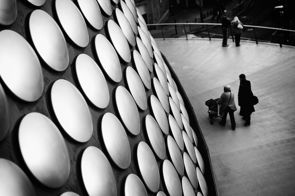 Detail of Selfridges Building, BIrmingham in black and white
