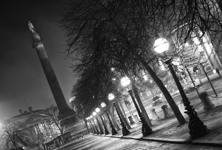 Saint George's Place on a foggy night, Liverpool
