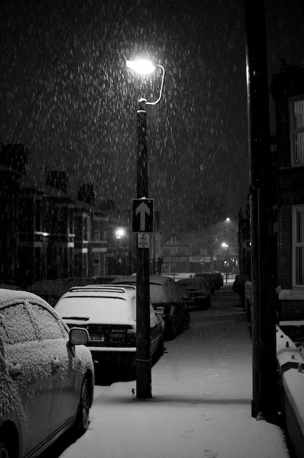 Vintage lampost in snow, black and white - Allerton, Liverpool