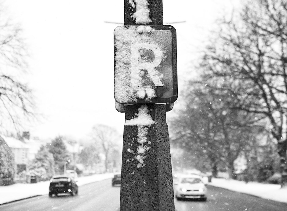 Ring Road sign in snow, Liverpool