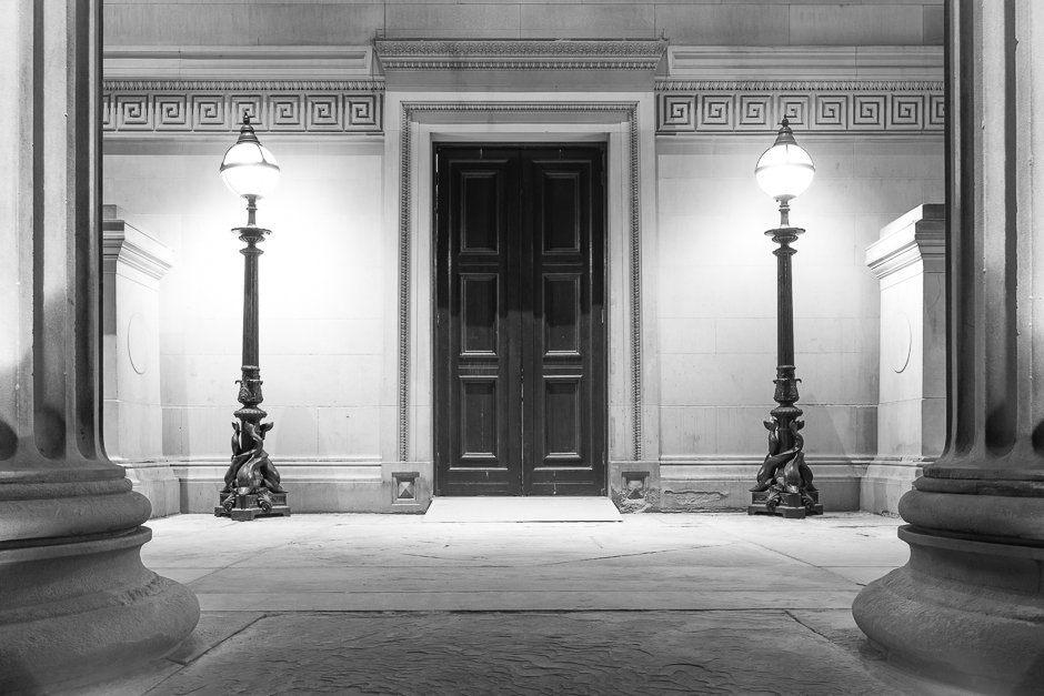 St Georges Hall details - doors - black and white