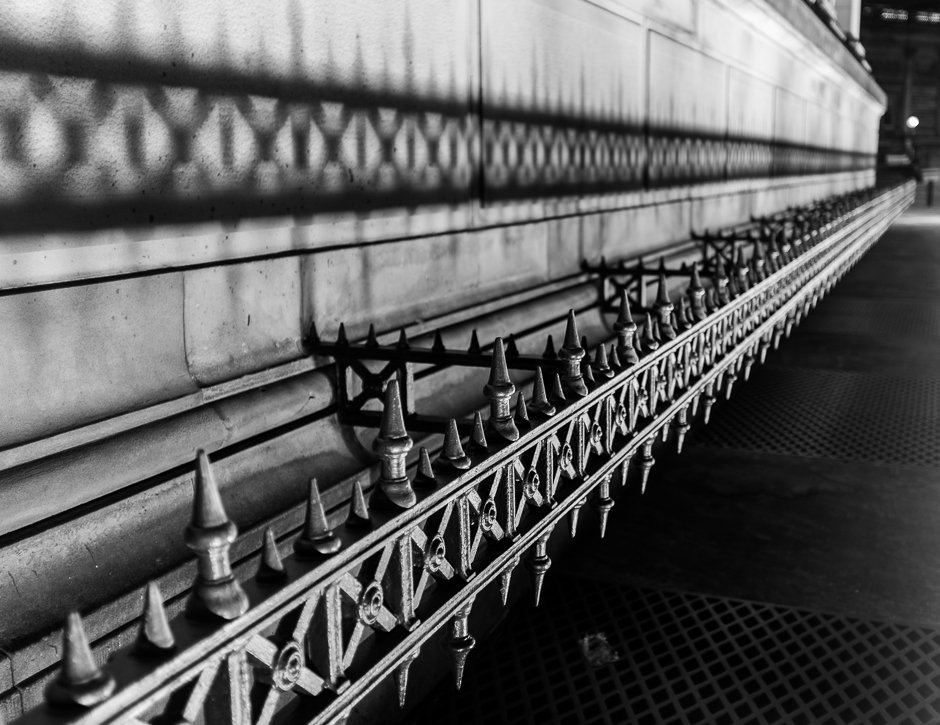 St Georges Hall details - railings - black and white