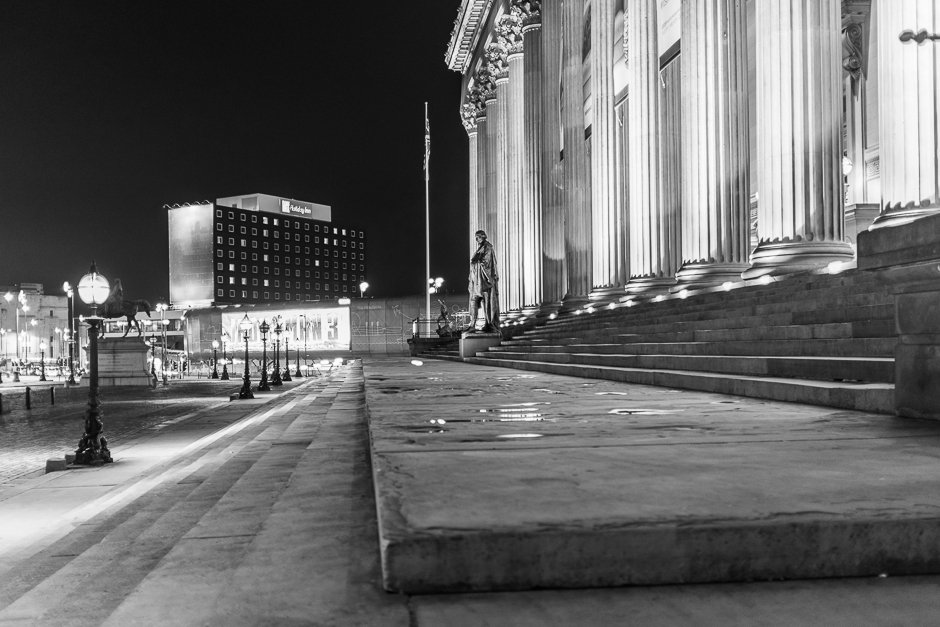 St Georges Hall details - statue - black and white