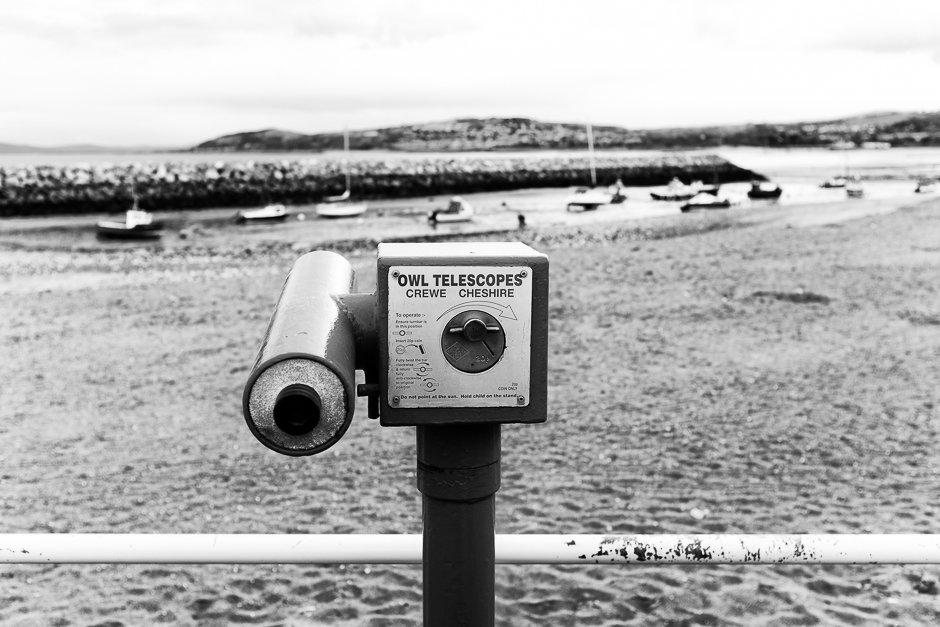 Owl telescope looking out to sea, Rhos-on-sea, North Wales
