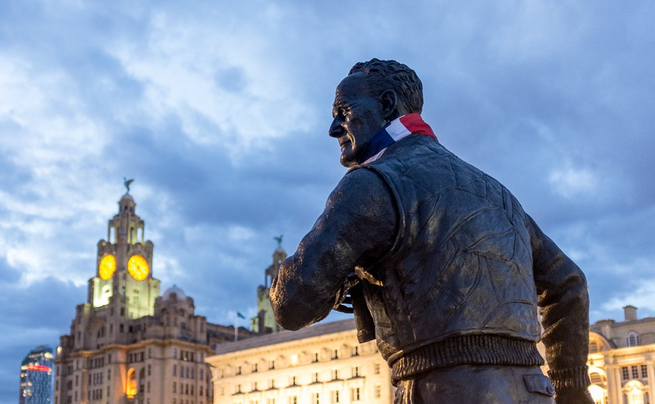 Captain 'Johnnie' Walker Battle of the Atlantic memorial statue with Liver Building in background