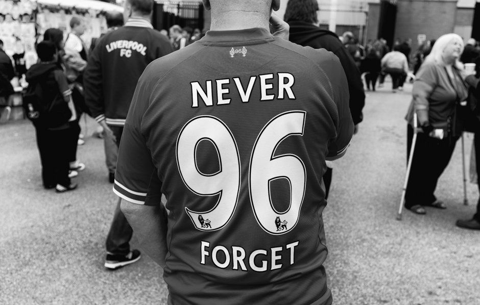 Justice for the 96 Liverpool shirt outside Anfield