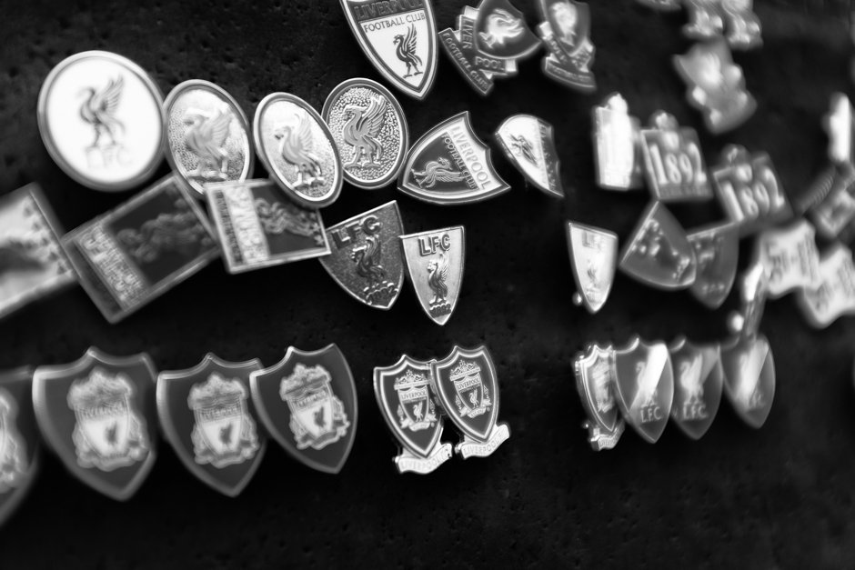 Numerous Liverpool badges on sale outside Anfield