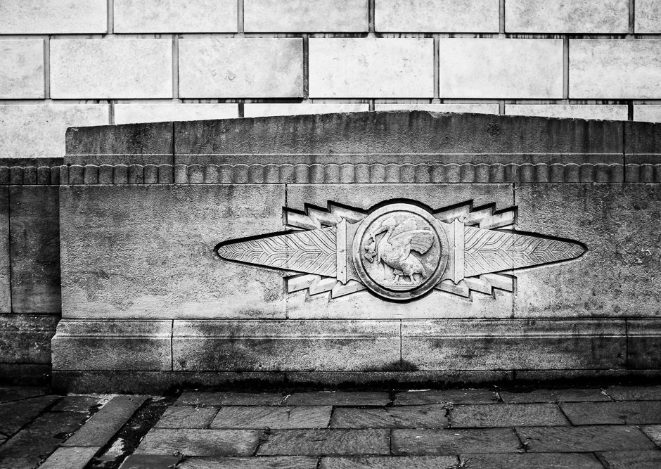 Black and white image of Liverbird architectural detail - Pier Head, Liverpool