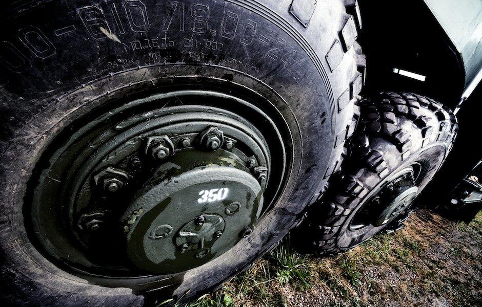 Massive army truck wheels