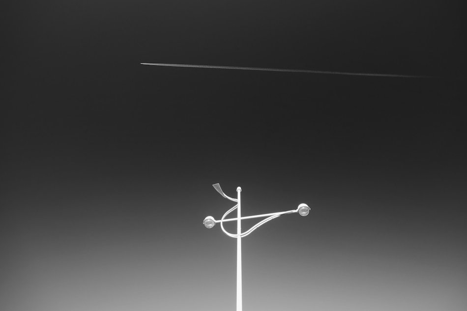 Minimalist image of sculpture from Southport front, black and white