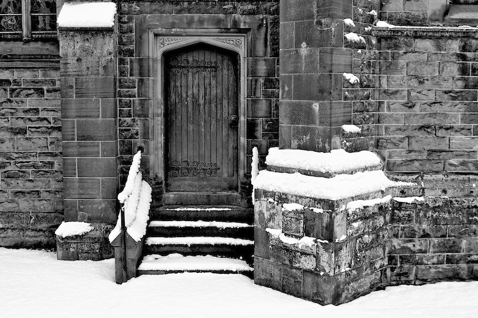 Doorway, St Peters Church, Woolton, Liverpool, Black and White image