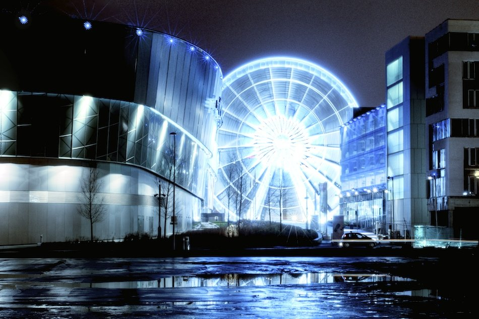The Echo Wheel Of Liverpool, viewed from the other side of the Liverpool Echo Arena, night HDR shot