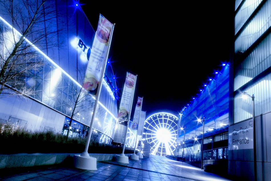 The Echo Wheel of Liverpool, viewed from outside the BT Conference centre. Night HDR shot.