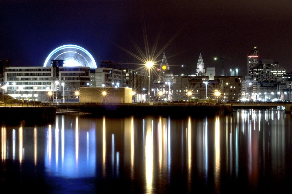 Night time shot of Echo Wheel of Liverpool, viewed from Liverpool Marina, HDR shot