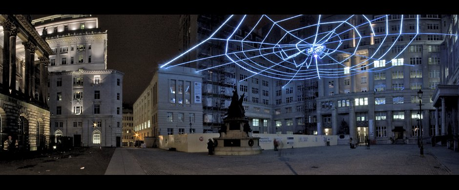 Panoramic shot of Web of Light, Ai Wei-wei installation for Liverpool Biennial