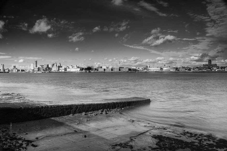 Liverpool waterfront, taken from the Wirral, HDR, black and white