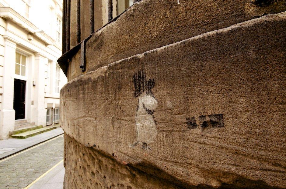 Graffiti stencil of moomintroll, Liverpool