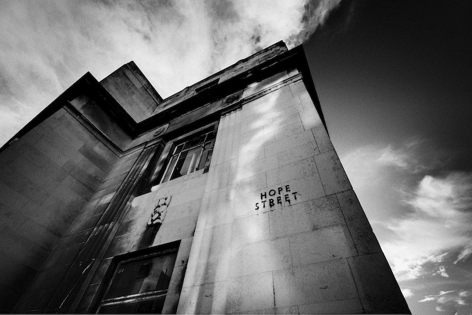 Black and white shot of 24, Hardman Street Liverpool