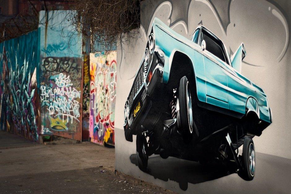 Street graffiti of low rider car, Grafton Street, Liverpool