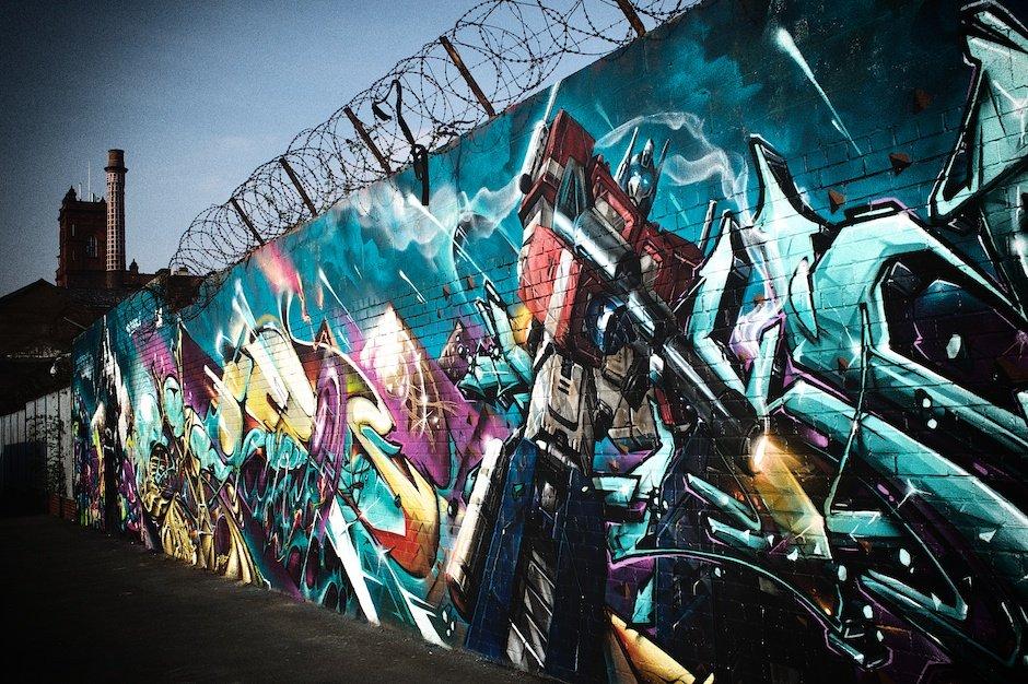 Street graffiti of Transformer Optimus Prime, Grafton Street, Liverpool