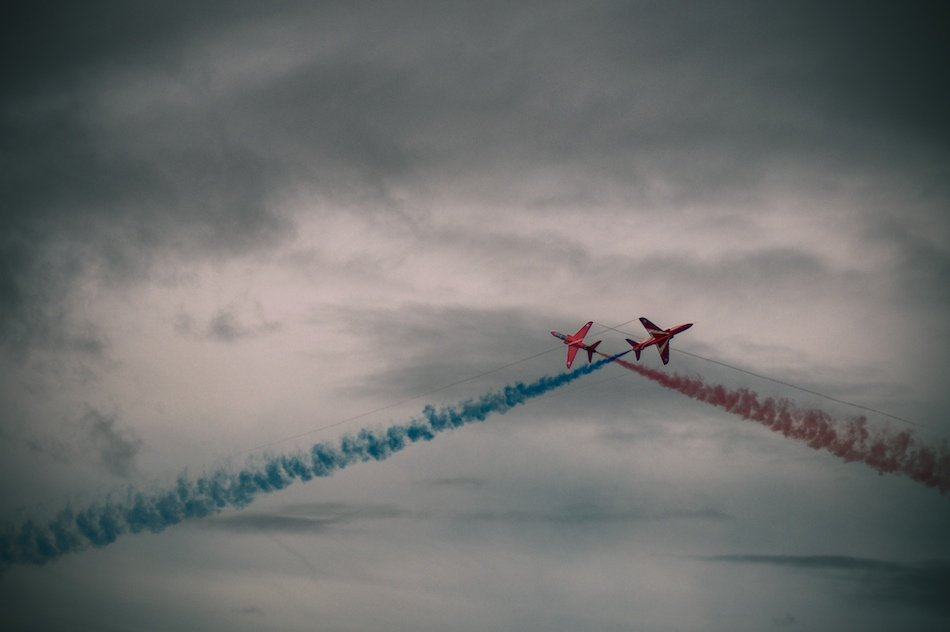 Red Arrows display at Southport Air Show, 2009