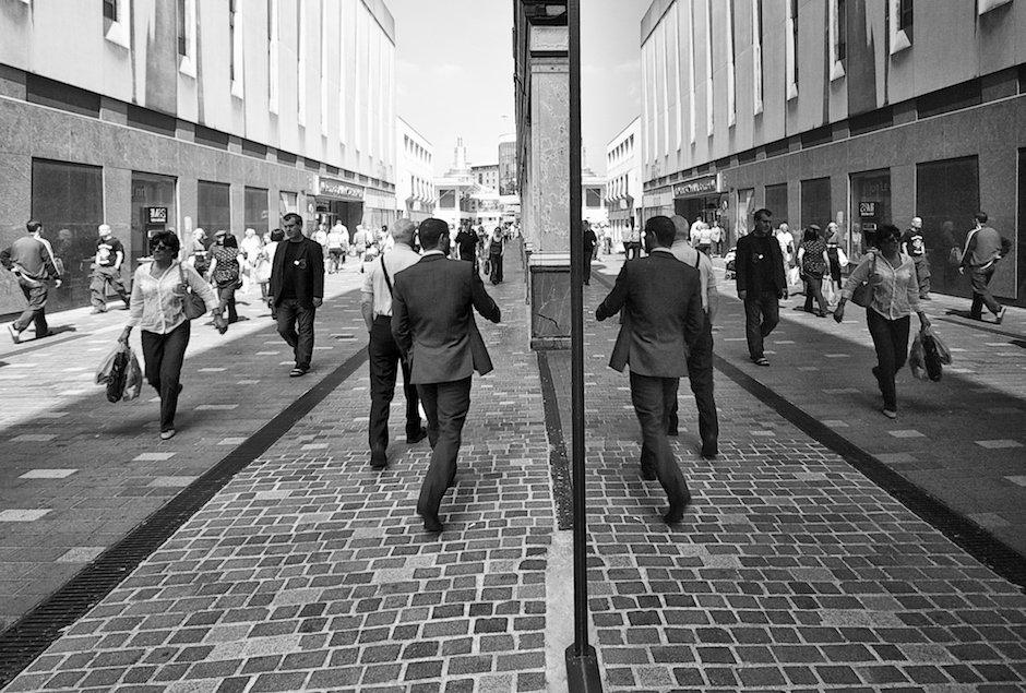 Shoppers reflected in shop windows - Basnett Street, Liverpool