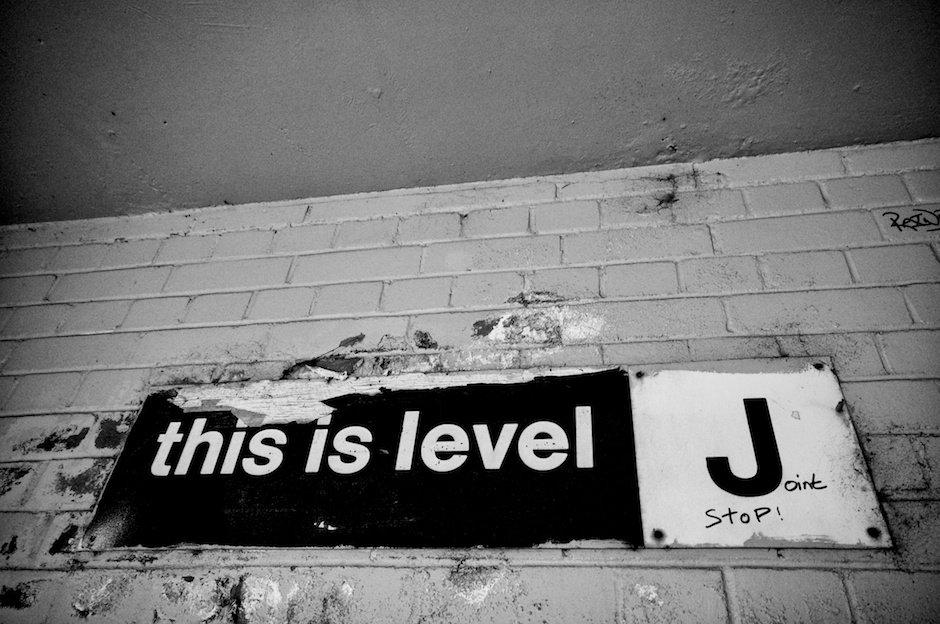 This is Level J sign, car park, Halton Lea Shopping Centre, Runcorn