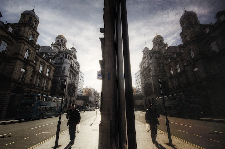 Dale Street reflected in shop window, Liverpool