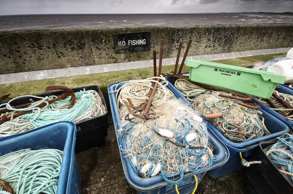 Bridlington Docks - fishing equipment in front on 'No Fishing' sign