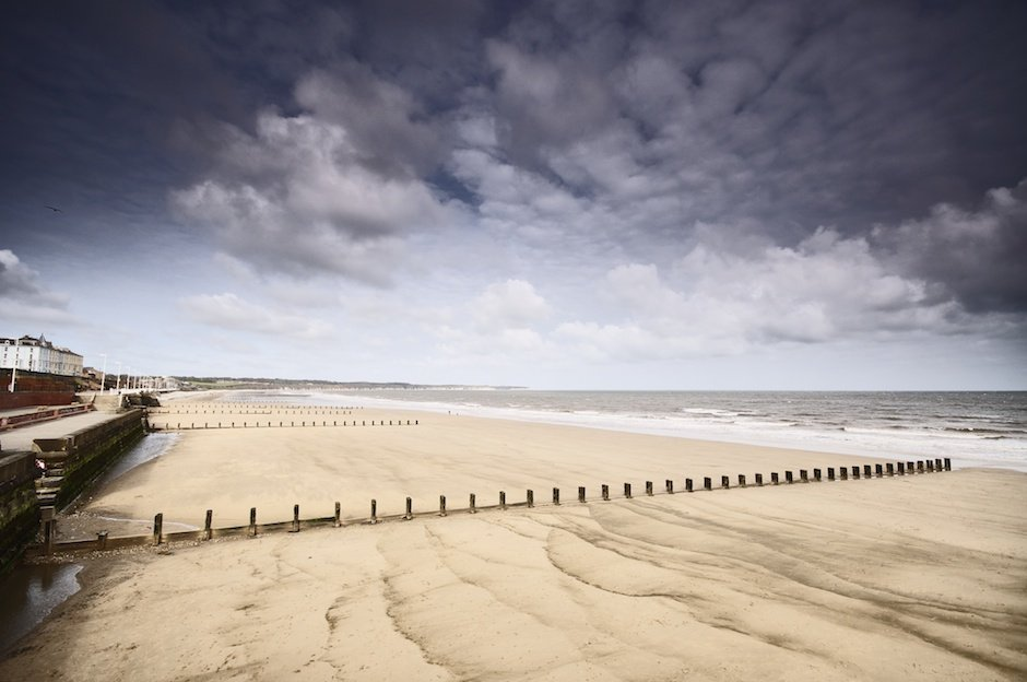 Bridlington beach at low tide
