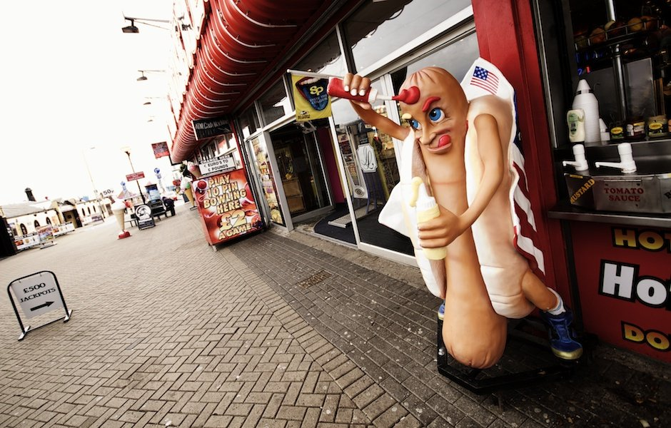 Bridlington - British seaside town shoot, giant hot dog