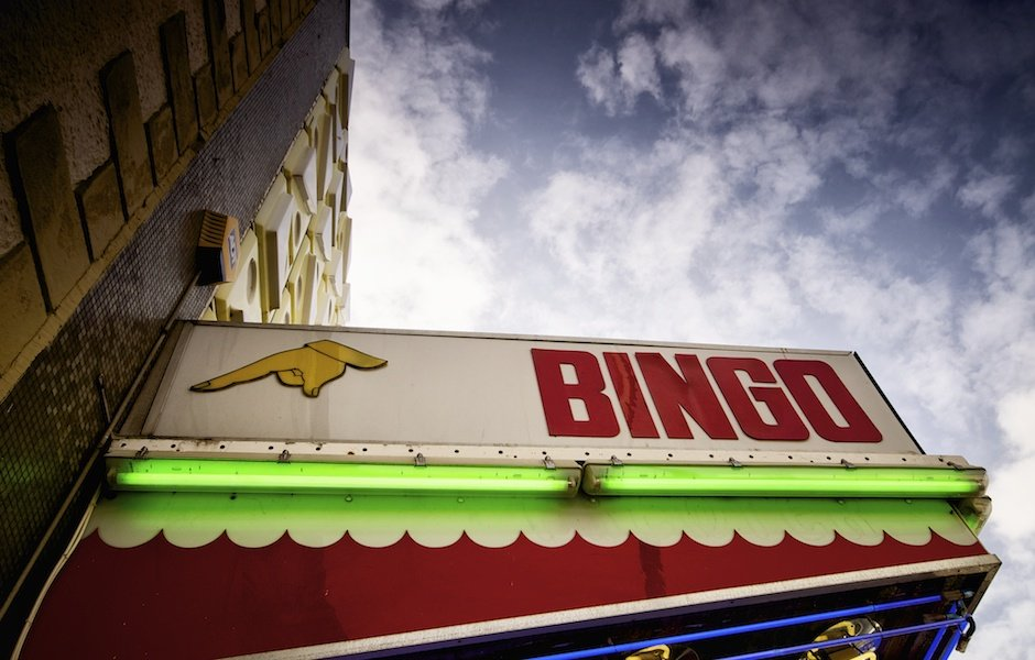 Bridlington - British seaside town shoot, bingo hall with blue sky