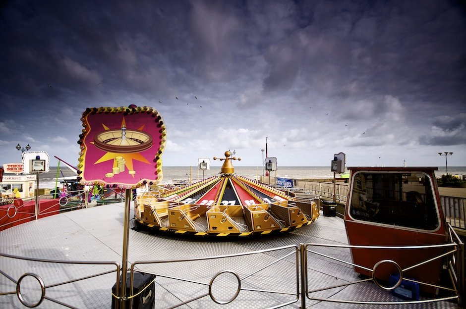 Bridlington - British seaside town shoot, fairground ride