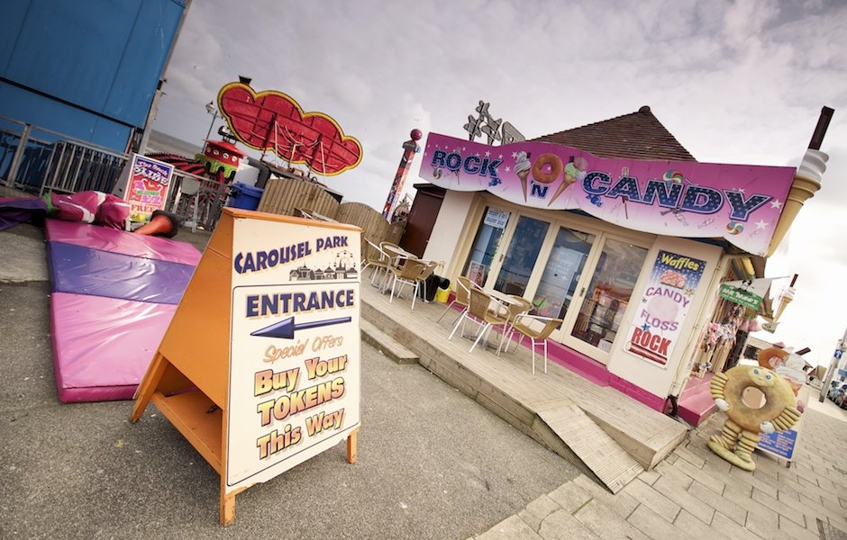Bridlington - British seaside town shoot, sign for fairground tokens