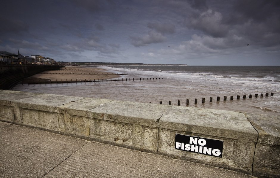 No fishing sign, Bridlington beach