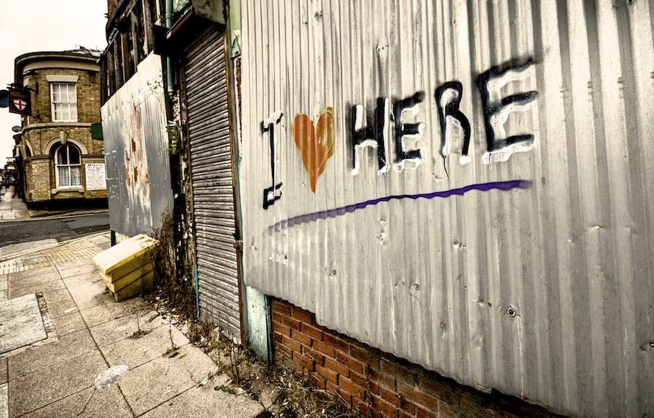 I Heart Here graffiti, Garston, Liverpool