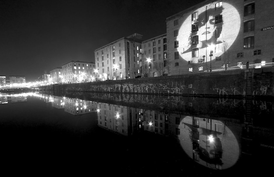 Marc Bolan projection for Glam exhibition at Tate Gallery, Albert Dock